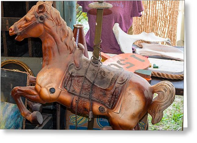Rampant Greeting Cards - Warrenton Antique Days Carousel Horse Rampant Greeting Card by JG Thompson