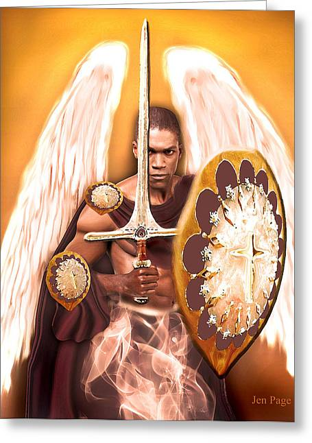 African-american Digital Greeting Cards - Warrior Angel Greeting Card by Jennifer Page