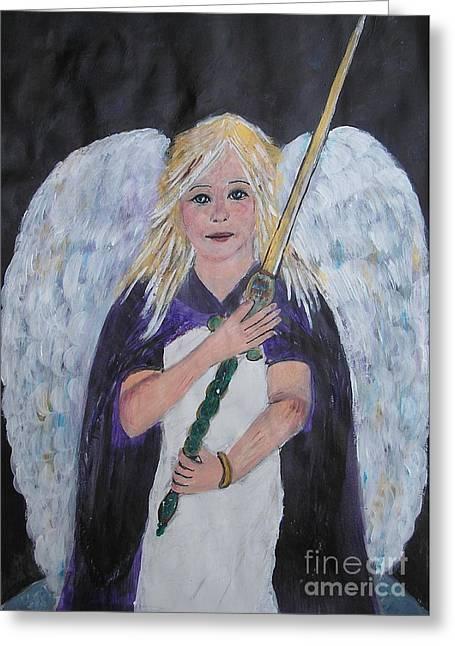 Innocence Greeting Cards - Warrior Angel Greeting Card by Karen J Jones