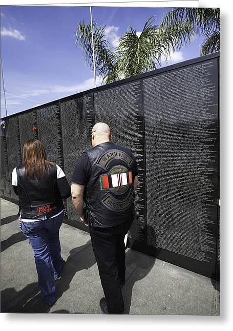 Bravery Greeting Cards - Warrior Brotherhood - Travelling Vietnam Memorial Wall Greeting Card by Ram Vasudev