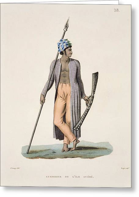 South Pacific Drawings Greeting Cards - Warrior From The Island Of Guebe Greeting Card by Jacques Etienne Victor Arago