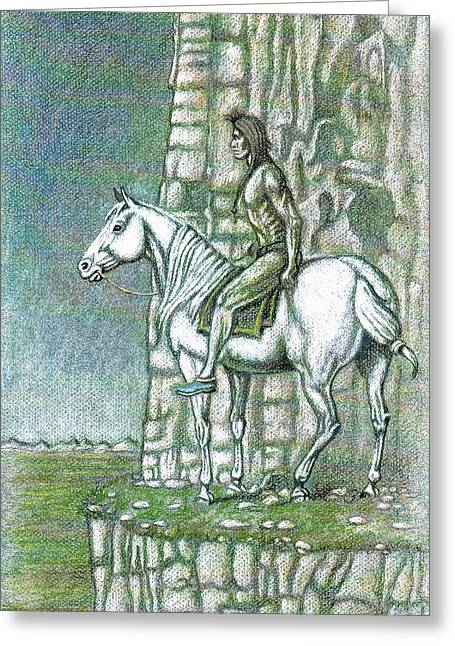 Ledge Drawings Greeting Cards - Warrior Lookout Greeting Card by Bern Miller