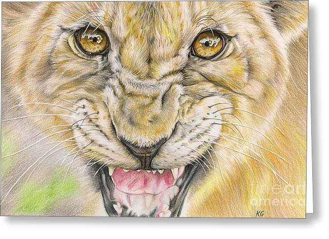 Lioness Drawings Greeting Cards - Warrior Mother Greeting Card by Karina Griffiths
