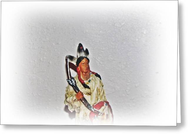 Americans Ceramics Greeting Cards - warrior of the Plains Greeting Card by Louise Narvick