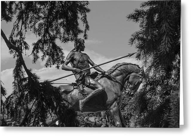 Indian Warrior Sculpture Greeting Cards - Warrior Greeting Card by Ron White