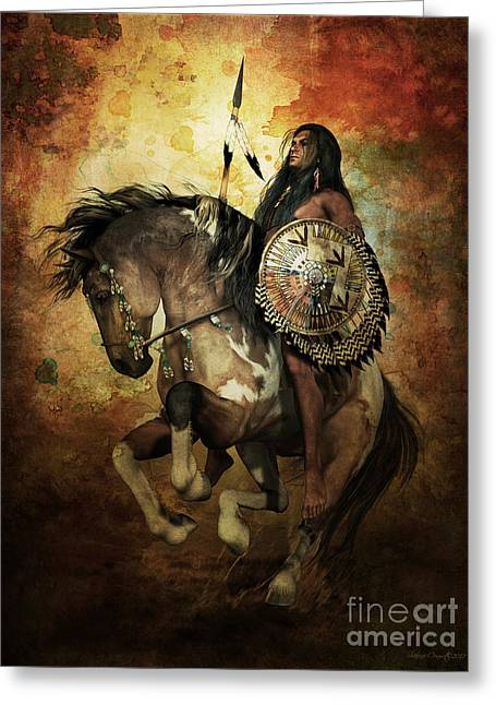 Golds Digital Art Greeting Cards - Warrior Greeting Card by Shanina Conway