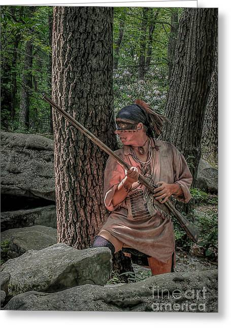 Warrior Stepping From Cover Greeting Card by Randy Steele