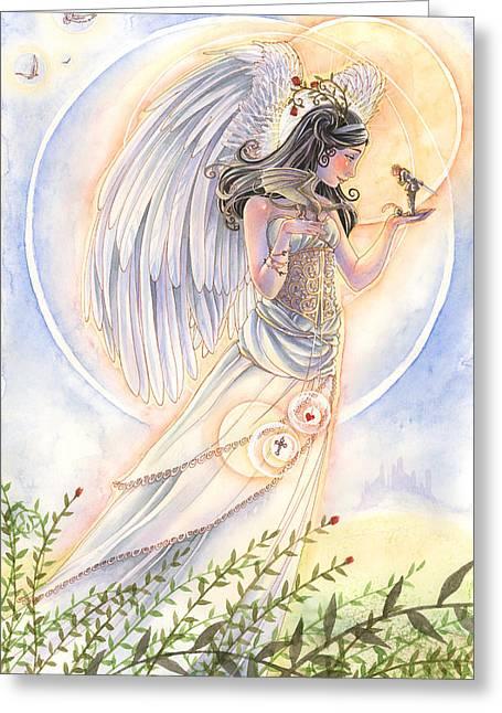 Angel Guardian Greeting Cards - Warriors Angel Greeting Card by Sara Burrier
