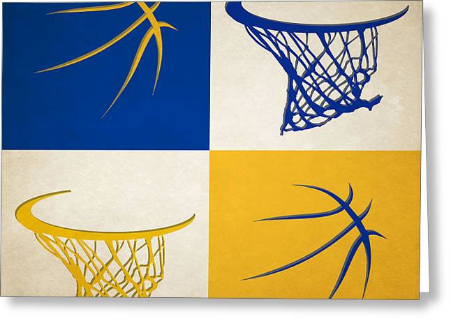 3 Pointer Greeting Cards - Warriors Ball And Hoop Greeting Card by Joe Hamilton