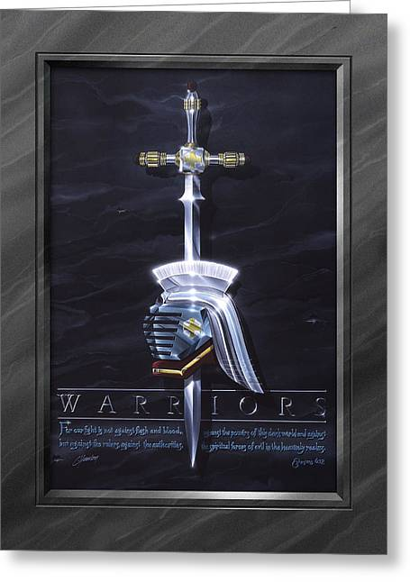 Warrior Greeting Cards - Warriors with Faux Matte Greeting Card by Cliff Hawley