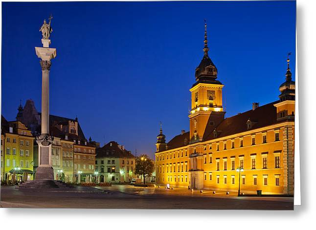 Recently Sold -  - Residential Structure Greeting Cards - Warsaw by Night Greeting Card by Artur Bogacki