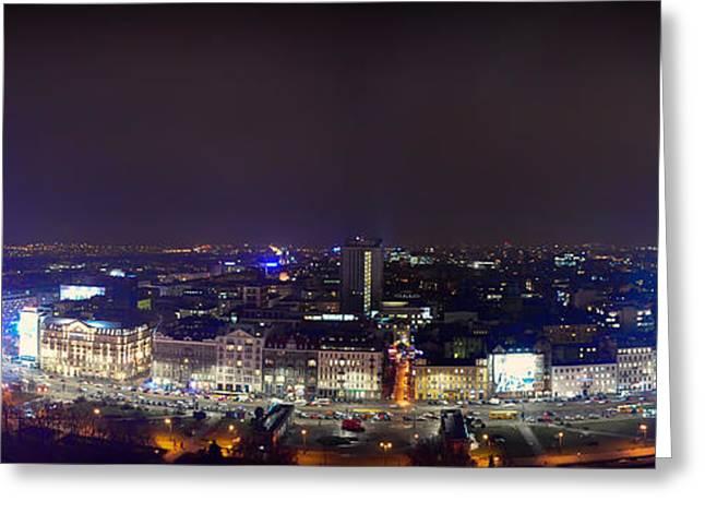 Dark Skies Greeting Cards - Warsaw Night Panorama Greeting Card by Mountain Dreams