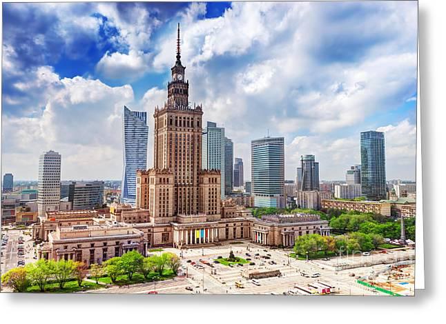 Warsaw Poland Greeting Card by Michal Bednarek