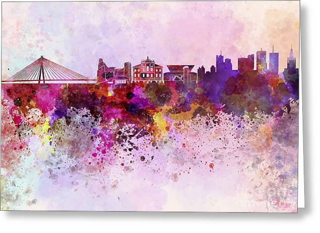 Poland Art Greeting Cards - Warsaw skyline in watercolor background Greeting Card by Pablo Romero