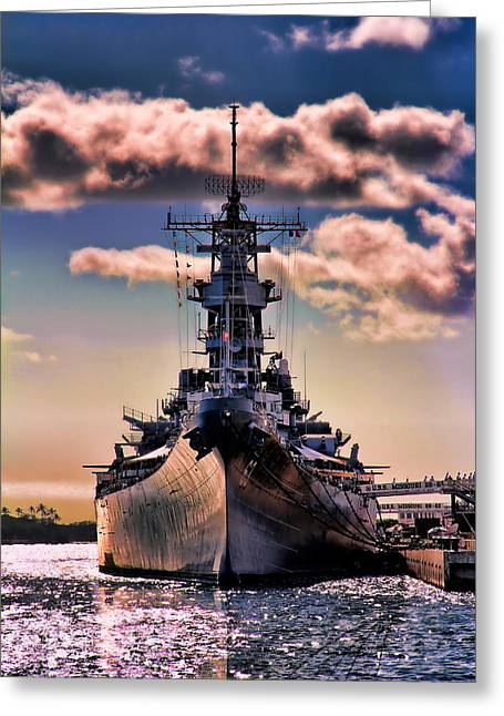 Ship Pyrography Greeting Cards - Warship Greeting Card by Fred Gramoso
