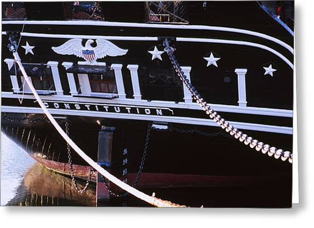 Sailing Ship Greeting Cards - Warship Moored At A Harbor, Uss Greeting Card by Panoramic Images