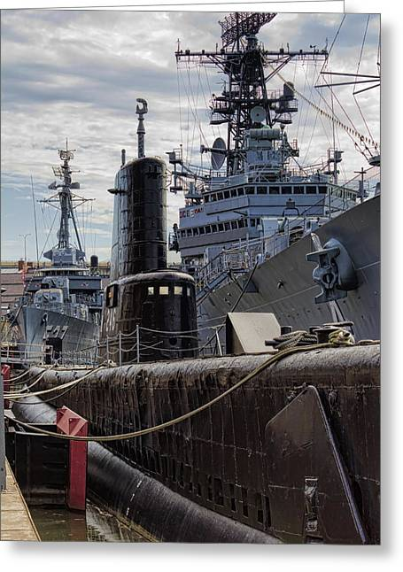 Ships And Boats Greeting Cards - Warship Parking Only Greeting Card by Peter Chilelli