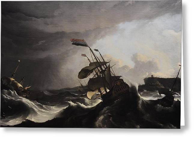 17th Greeting Cards - Warships In A Heavy Storm, C. 1695, By Ludolf Bakhuysen 1631-1708 Greeting Card by Bridgeman Images