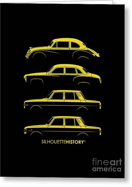 Family Car Greeting Cards - Wartburg SilhouetteHistory Greeting Card by Balazs Iker