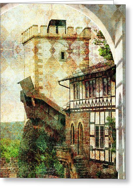 Dagmar Greeting Cards - Wartburg with texture Greeting Card by Dagmar Wassenberg