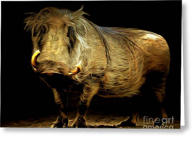 Animal Hair Greeting Cards - Warthog 20150210brun Greeting Card by Wingsdomain Art and Photography