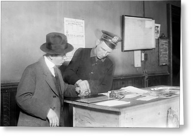 Identification System Greeting Cards - Wartime fingerprinting, 1917 Greeting Card by Science Photo Library