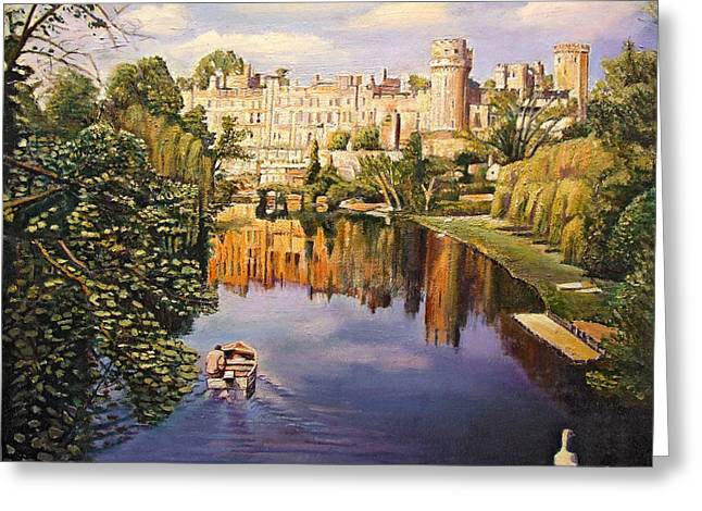 Warwickshire Greeting Cards - Warwick Castle, 2008 Oil On Canvas Greeting Card by Kevin Parrish