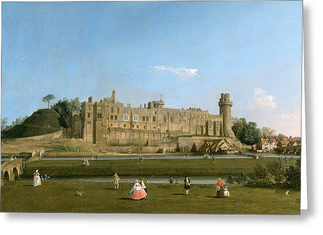 Warwick Paintings Greeting Cards - Warwick Castle Greeting Card by Canaletto