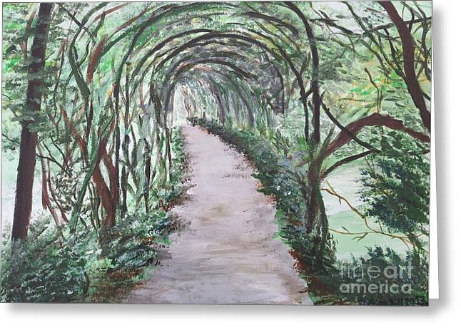 Warwick Paintings Greeting Cards - Warwick Castle Garden Tunnel Greeting Card by CE Dill