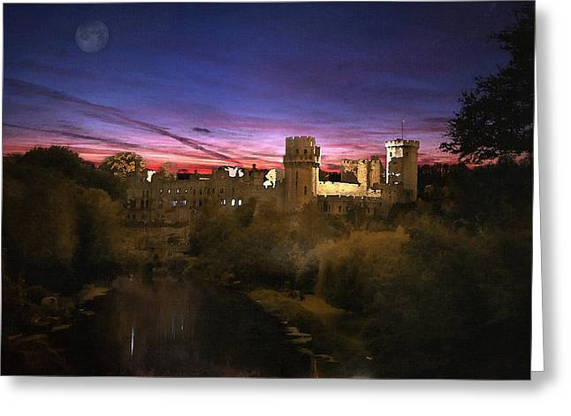 Warwick Greeting Cards - Warwick Castle Watercolour Greeting Card by Jason Green
