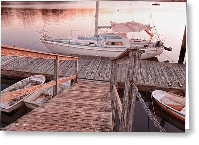 New England Ocean Greeting Cards - Warwick Marina Park Greeting Card by Lourry Legarde