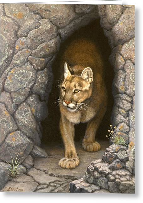 Cougar Greeting Cards - Wary Appearance-Cougar Greeting Card by Paul Krapf