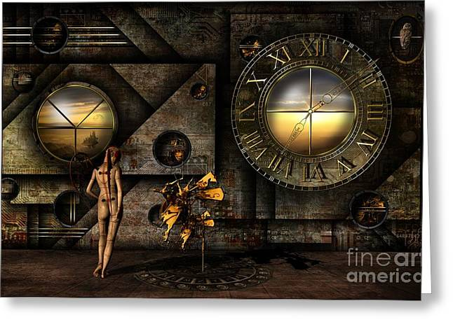 Clock Mixed Media Greeting Cards - Was Salvador here ? Greeting Card by Franziskus Pfleghart