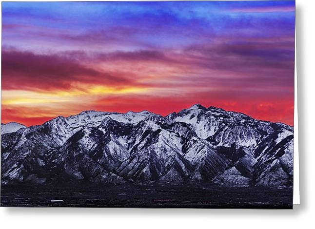 Winter Scenery Greeting Cards - Wasatch Sunrise 2x1 Greeting Card by Chad Dutson
