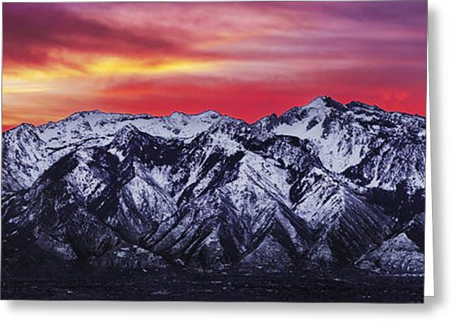 Winters Greeting Cards - Wasatch Sunrise 3x1 Greeting Card by Chad Dutson