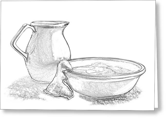 Indoor Still Life Mixed Media Greeting Cards - Wash Basin and Water Pitcher Greeting Card by Linda Muir