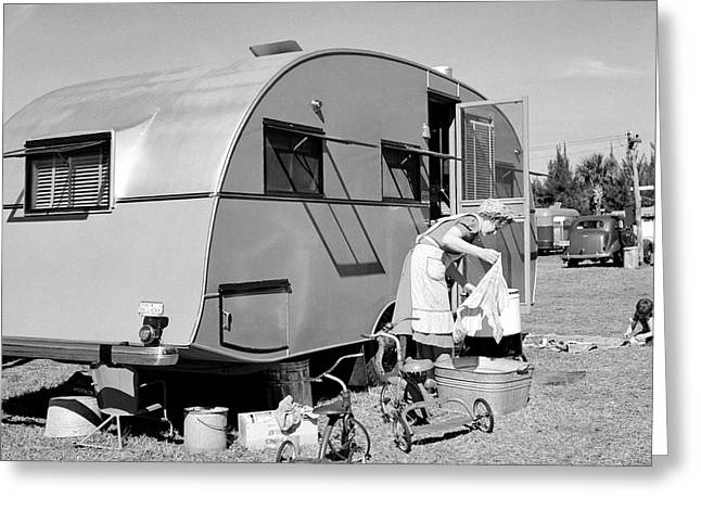 Trailer Park Greeting Cards - Wash Day 1941 Greeting Card by Daniel Hagerman