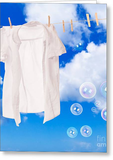 Blue Blouse Greeting Cards - Wash Day Bubbles Greeting Card by Amanda And Christopher Elwell