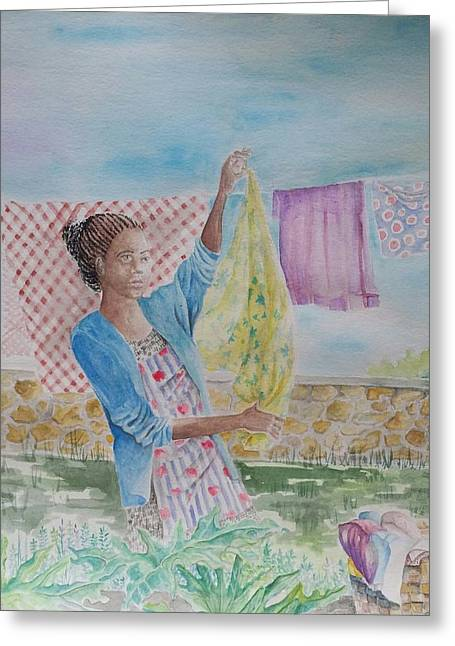 Doing Laundry Greeting Cards - Wash Day Greeting Card by Gloria Jones