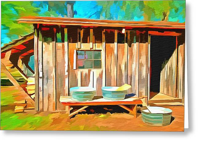 Old Washboards Paintings Greeting Cards - Wash Day Greeting Card by L Wright