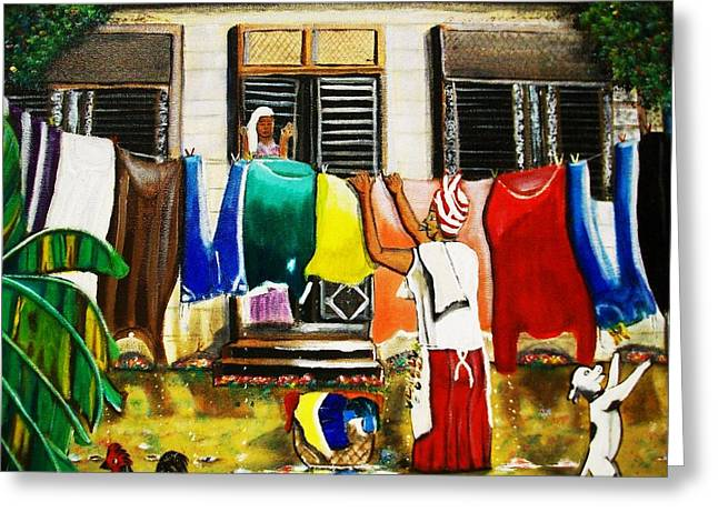 Wash Day. Greeting Card by Roejae Baptiste