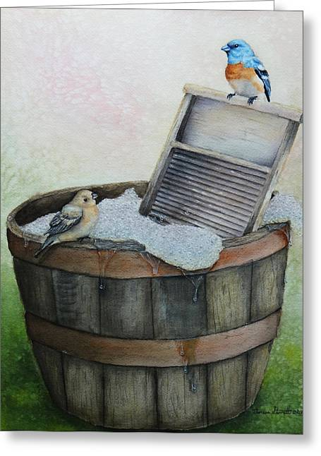 Wash Boards Greeting Cards - Wash Day Greeting Card by Theresa Stinnett