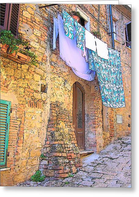 Stone House Greeting Cards - Wash Day Tuscany Greeting Card by Jan Matson