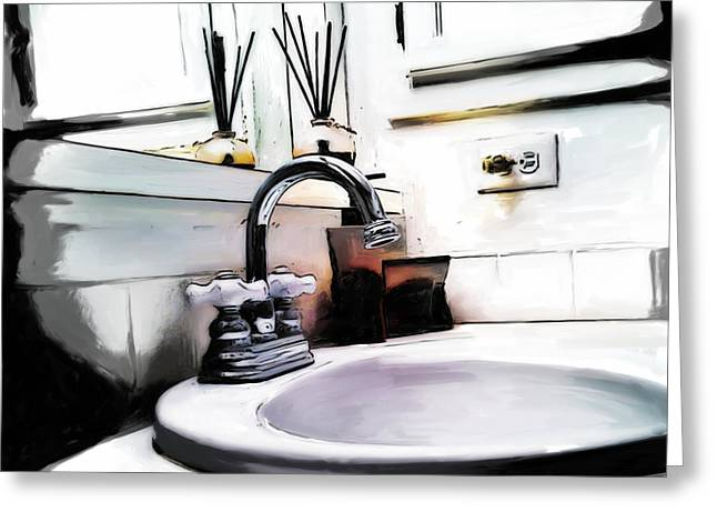 Faucet Paintings Greeting Cards - Wash Greeting Card by Robert Smith