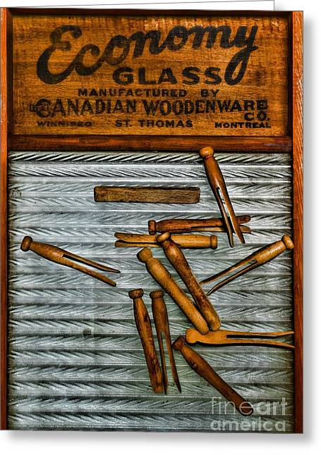 Old Washboards Photographs Greeting Cards - Washboard and Clothes Pins Greeting Card by Paul Ward