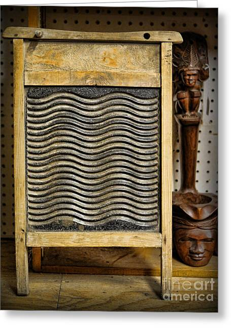 Old Washboards Photographs Greeting Cards - Washboard  Greeting Card by Lee Dos Santos