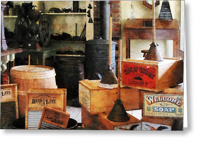 Washboards and Soap Greeting Card by Susan Savad