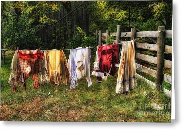 Washday Greeting Cards - Washday Greeting Card by Clare VanderVeen
