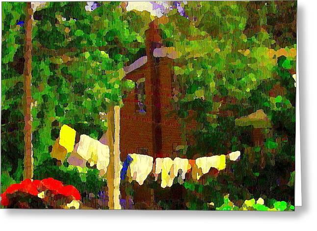 Washday Hanging Clothing On The Line Cote St Luc Suburban Backyard Scene Quebec Art Carole Spandau Greeting Card by Carole Spandau