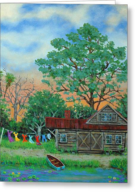 Washday Greeting Cards - Washday Sunrise Greeting Card by Dwain Ray